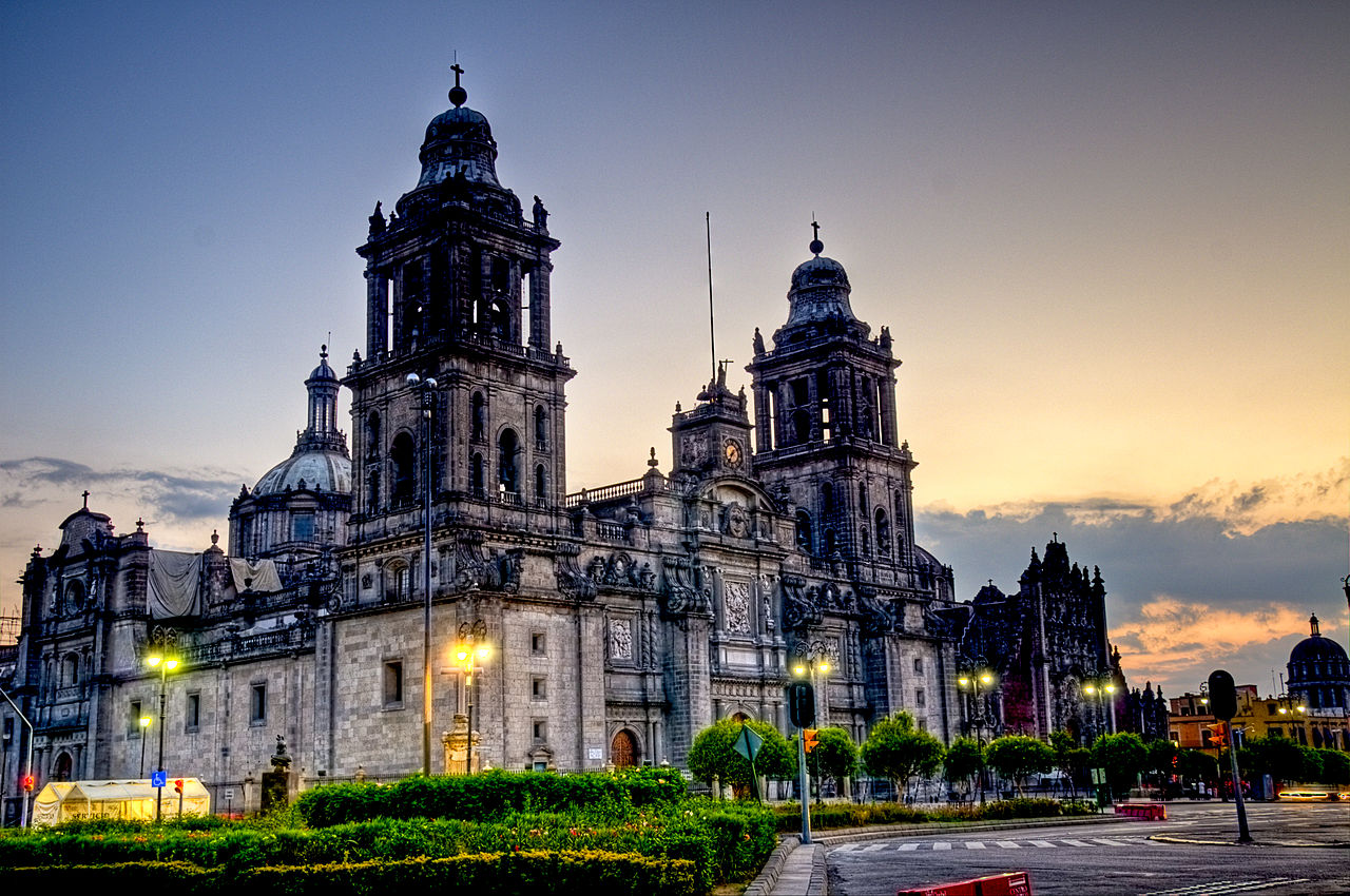 Mexico City cathedral at night